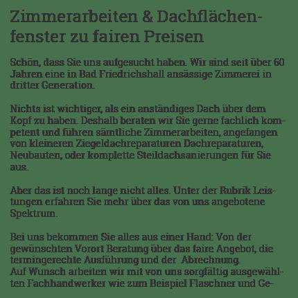 Zimmerarbeiten für  Neckarsulm